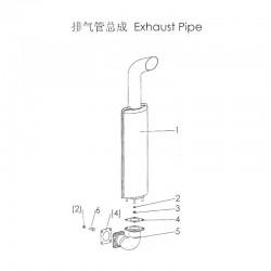 DF254 DF304 Exhaust bent pipe