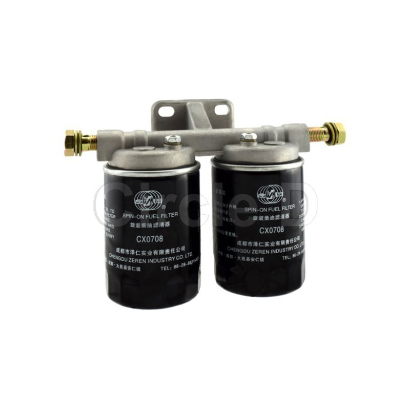 4 24000 fuel filter assembly lijia sl4100, sl4105fuel filter assembly to suit lijia sl4100 and sl4105 diesel engines details m14 banjo inlet and outlet 2 x cx0708 spin on filters included